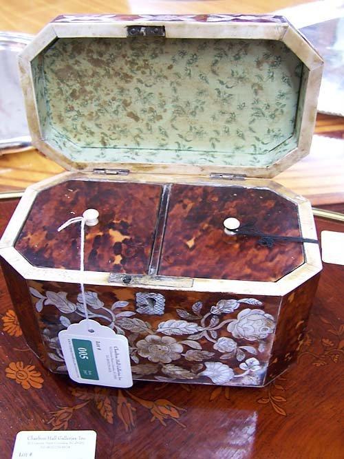 5: Regency style inlaid tea caddy - 3