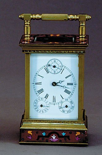 7: French cloisonne enameled carriage clock
