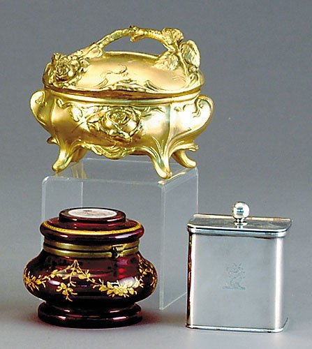 013B: English silverplate tea caddy and trinket boxes