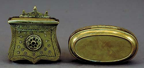 013C: Two Dutch brass tobacco boxes