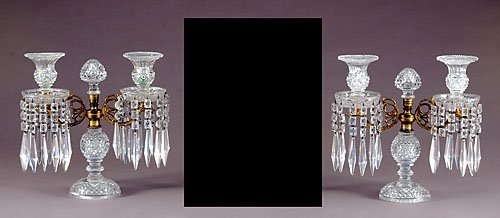 15: Pair Regency crystal girandoles