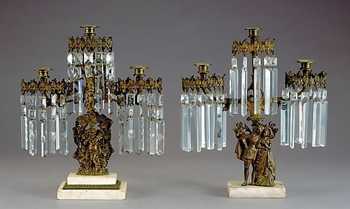 18: Pair bronze, crystal and marble girandoles