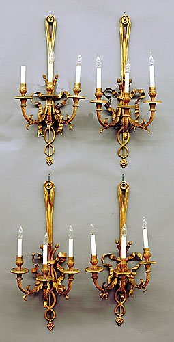 20: Set of four French gilt-metal wall sconces