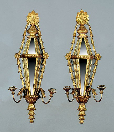 21: Pair Italian carved giltwood and mirrored sconces