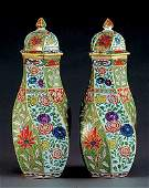 66 Pair English porcelain covered vases