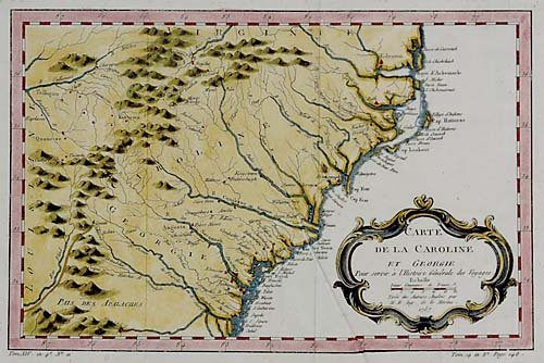 561: Early map of Southern United States by Bellin