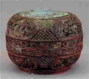 744: Chinese cinnabar covered box