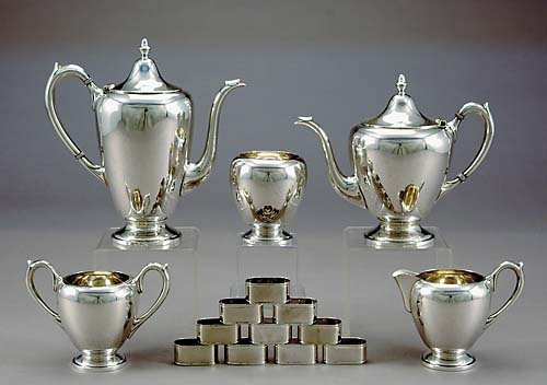 8: American sterling tea and coffee service