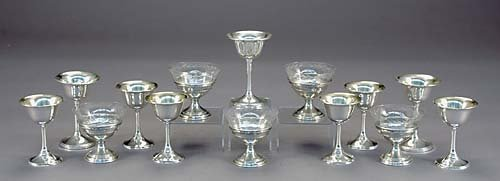 10: American sterling silver cordials and bowls