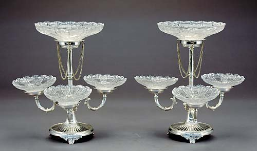 19: Pair Sheffield silverplate epergnes