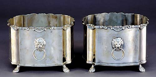 24: Pair silverplate cachepot/wine coolers