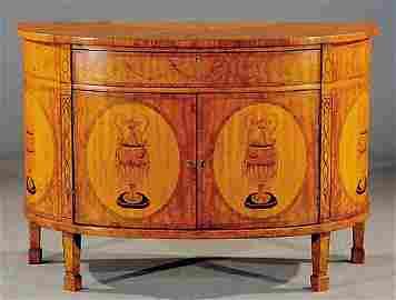 104: Edwardian inlaid satinwood bow front commode