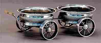 264: British silverplate wine trolley
