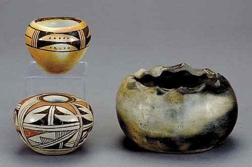 507: Three Native American pottery bowls