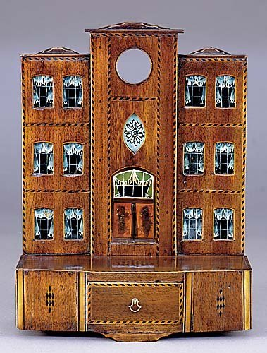 517: English inlaid mahogany watch hutch/jewelry box