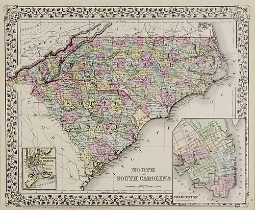 520: Map of North and South Carolina, Mitchell
