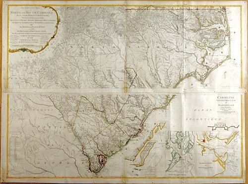 521: Early map of the Carolinas by Henry Mouzon