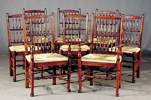 549: Maple and rush dining chairs, set of eight