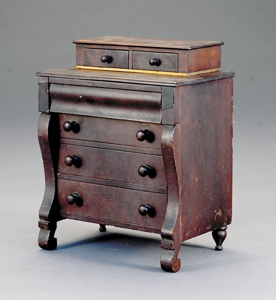 23: Miniature Empire mahogany chest of drawers