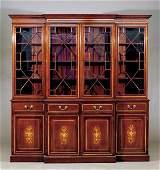 59 Edwardian style inlaid mahogany breakfront bookcase