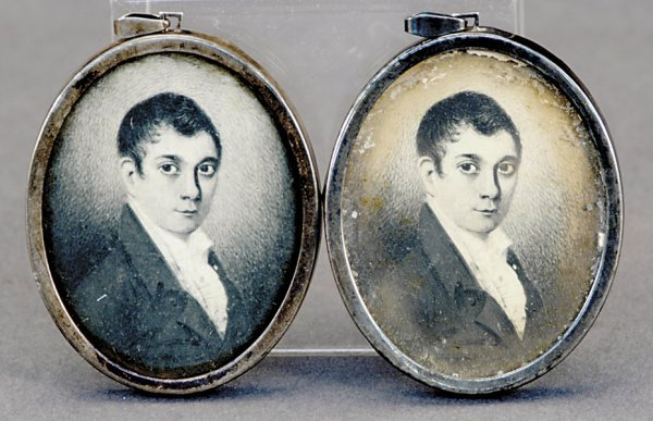510: Two American portrait miniature lithographs