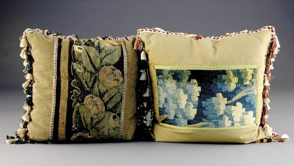 514: Two throw pillows with tapestry panels