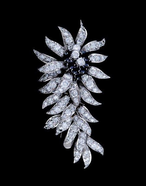 2000: Sapphire and diamond brooch