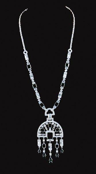 2001: Art Deco style emerald and diamond pendent neckla