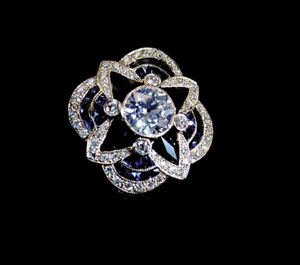 2021: Art Deco sapphire, onyx and diamond ring
