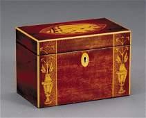 2027: Georgian style inlaid mahogany tea caddy