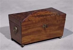 003: Regency style mahogany tea caddy circa 1860