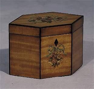 004: English painted satinwood tea caddy