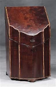 006: English inlaid mahogany knife box late 19th centur