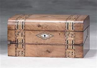 007: English inlaid olive lap desk 19th century