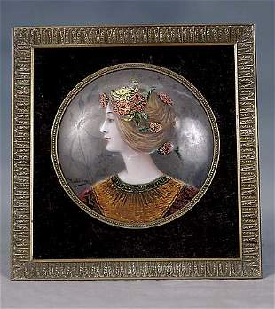 012: French enameled portrait plaque late 19th century