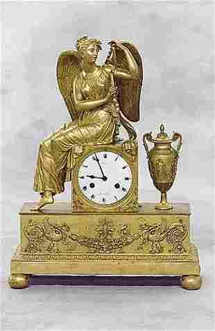 016: Fine French bronze dore mantel clock, signed Lepin
