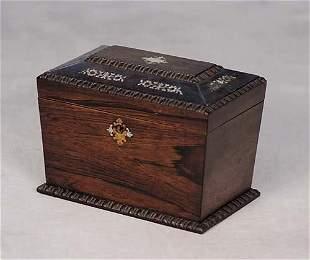 017: Regency mother-of-pearl inlaid rosewood tea caddy