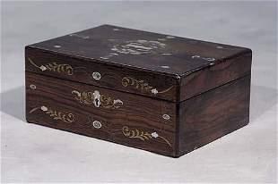 022: English inlaid rosewood jewelry box second half 19