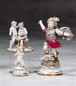 318: Three Meissen porcelain figures 19th/20th century