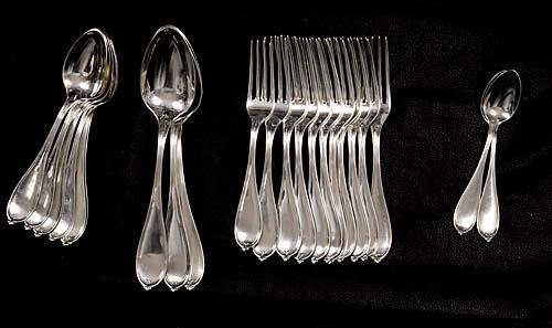 454: American coin silver flatware, by N. Harding & Co