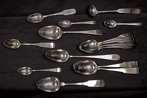 464: American coin silver spoons and ladle circa 1765-9