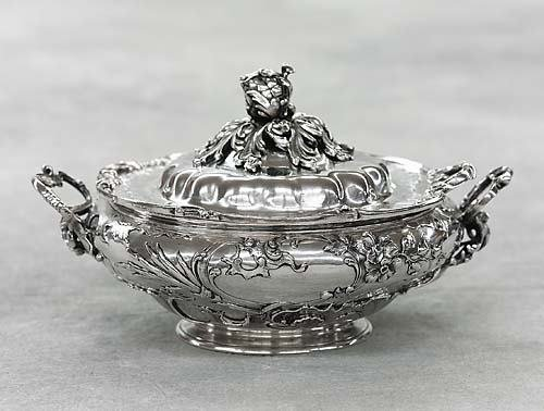 580: German Art Nouveau silver covered tureen late 19th