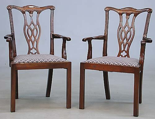 004: pair of Chinese Chippendale style armcha