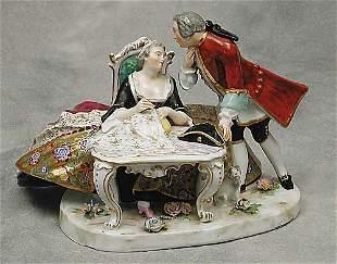 011: Continental porcelain figural group dep