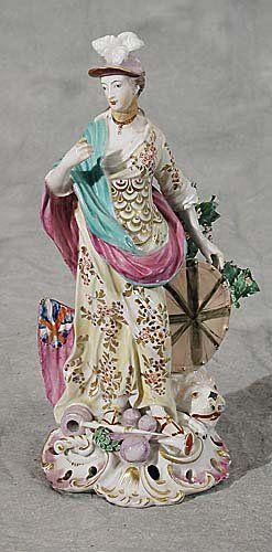 150: English porcelain figure of lady warrior