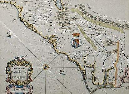 518: John Speed map of the Carolina  Date: Lo