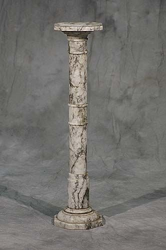 007A: 007A: Gray and white mottled marble pedestal