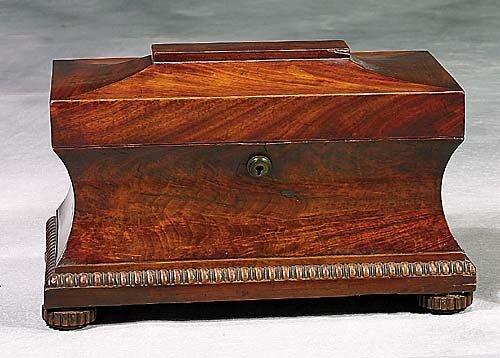 5: Regency mahogany tea caddy mid 19th centur