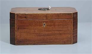 William IV inlaid mahogany tea caddy circ