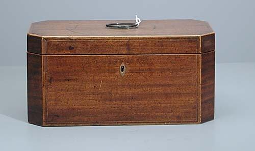 10: William IV inlaid mahogany tea caddy circ